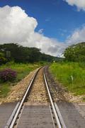 Railway with blue sky Stock Photos