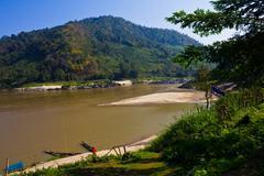 coastline of thailand and mae khong river. - stock photo