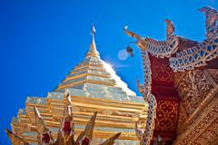 buddhist temple of wat phrathat doi suthep in chiang mai, thailand - stock photo