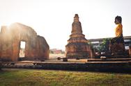 Stock Photo of ancient temple ayudhaya in thailand