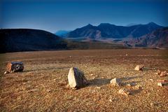 the rocky valley. mountain altai, russia. - stock photo