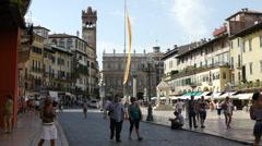 Piazza delle Erbe in Verona Stock Footage