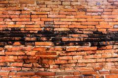 Brick wall texture in ruins temple at ayutthaya Stock Photos