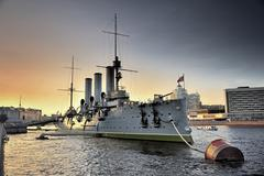 Linear cruiser aurora, the symbol of the october revolution in russia Stock Photos
