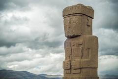 monolith at ruins of tiwanaku, bolivia - stock photo