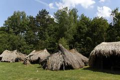 Prehistoric settlement in wola radziszowa, poland Stock Photos