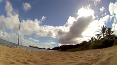 HAWAII BEACH TIME LAPSE PAN WITH CLOUDS OCEAN SAILBOAT HD HIGH DEFINITION Stock Footage