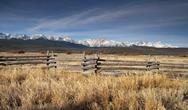 Stock Photo of ranch range fence sun valley idaho sawtooth mountain range