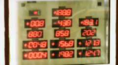Industrial Control Panel Numbers Running Stock Footage