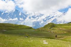 a beautiful view of the mont blanc in the french alps - stock photo