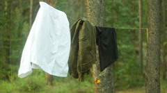 Clothes line dry drying Stock Footage