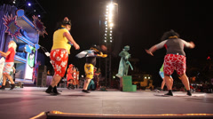 People dance and play during a festival in Las palmas de Gran Canaria Stock Footage