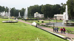 Fountains in the Peterhof Imperial Palace and Park Stock Footage