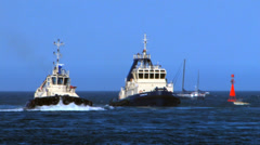 Tugboats of the port - stock footage