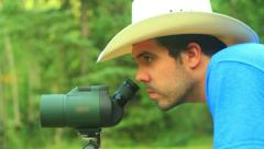 Using vision scope telescope spotting spot Stock Footage