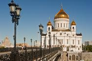 Stock Photo of bridge going to the patriarchal cathedral of christ the savior