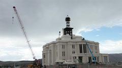 Stock Video Footage of Payson LDS Mormon Temple under construction HD 1542
