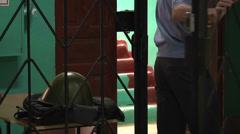 Police in the iron lattice Stock Footage