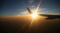 Flight , Sun, Clouds Stock Footage