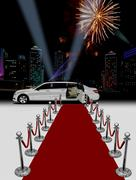 Limo and red carpet with city background Stock Illustration