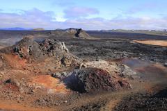 the lava field of leirhnjukur - stock photo