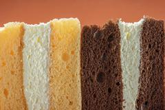 Cross section texture of pieces cake Stock Photos