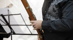 The musician plays the bassoon Stock Footage