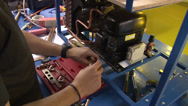 Stock Video Footage of Air Conditioner Recovery Unit Training Students NTSC