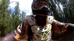 MOTOCROSS RIDER IN HAWAII POV RIDING THROUGH JUNGLE OAHU NORTH SHORE HD Stock Footage