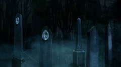 3D Halloween animation of fog and old tombstones in a dark creepy cemetery 7 Stock Footage
