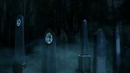 Stock Video Footage of 3D Halloween animation of fog and old tombstones in a dark creepy cemetery 7