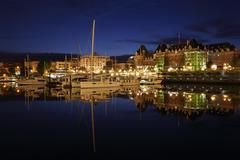 Inner Harbor Twilight, Victoria, British Columbia Stock Photos