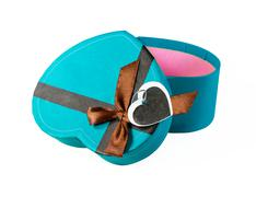 blue heart-shaped box - stock photo