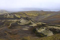 the laki craters - stock photo