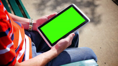 Green Screen Tablet PC 3585 Stock Footage