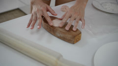 Woman making pastry in home kitchen Stock Footage