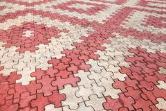 Stock Photo of red and grey paving tiles as background