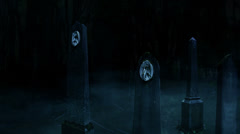 3D Halloween animation of fog and old tombstones in a dark creepy cemetery 3 Stock Footage