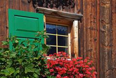 red geraniums in window box - stock photo