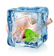 Chicken in ice cube - stock photo