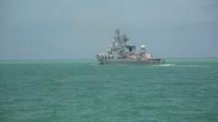 Warship patrolling Stock Footage