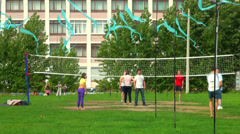 Volleyball on the grass Stock Footage