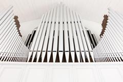 White church organ pipes Stock Photos