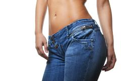 Stock Photo of close-up shot of female wearing jeans