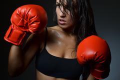 beautiful woman boxing - stock photo