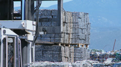 Aluminum Scrap Cubes on the way for recycling Stock Footage