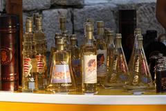 market in dubrovnik, alkohol, croatia - stock photo
