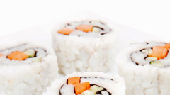 Maki Roll with Cucumber and Salmon Stock Footage
