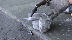 Cutting metal by gas welding Stock Footage