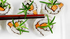Japanese Cuisine - California Sushi Roll Stock Footage